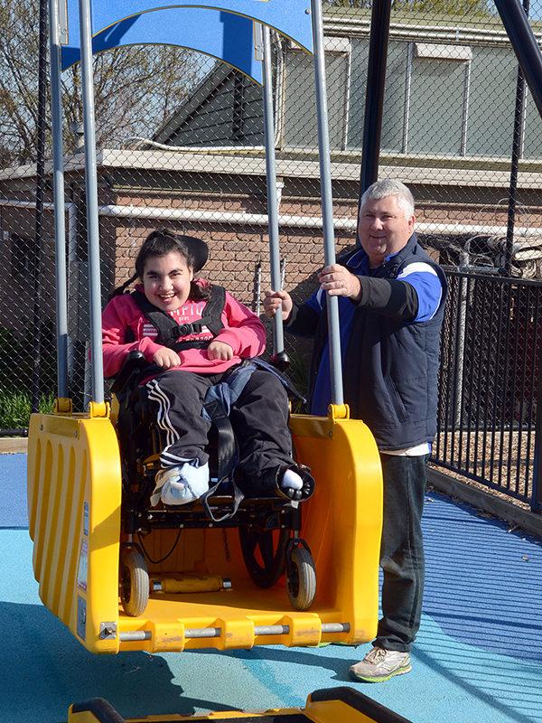 Having fun on the swing