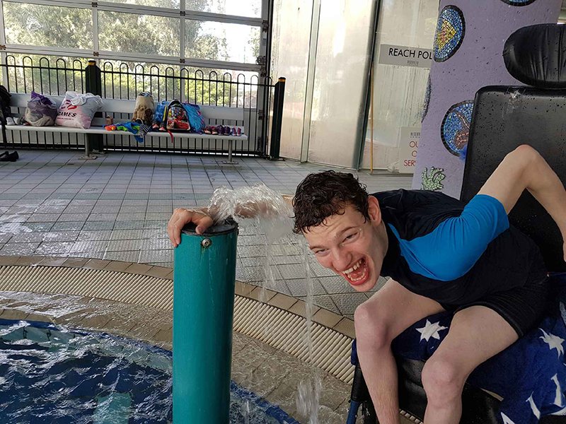 Nathan having fun in the water